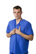 doctor in blue scrubs