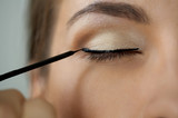 Close-up shot of work of make-up specialist. Low-focus image. poster