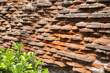Not restored wall of an old bricklaying