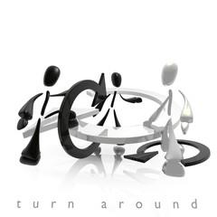 turn around black and white