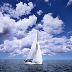 Sailing boat in the wind