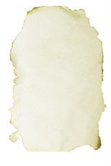 burnt grunge paper isolated on a white background