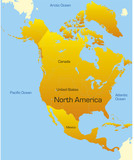 Abstract map of north america continent poster
