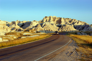 Driving through the Badlands National Park in South Dakota