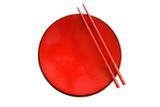 Red dish and chopsticks with oriental style isolated poster