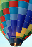 Propane burners being fired in a colourful hot air balloon. poster
