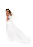 Beautiful Bride Blowing a Kiss From Her Hand Full Length Shot poster
