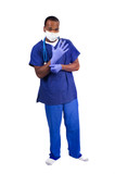 young African American doctor putting on surgical gloves poster
