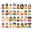 Set of peoples icons, summer vacations