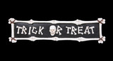 A scary Halloween holiday sign over black background poster