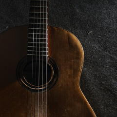Abstract background still life with acoustic guitar