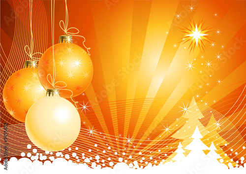 Christmas background with decorations / vector