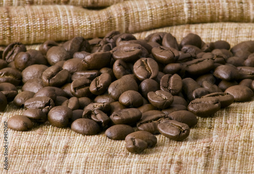 Coffee beans on brown sacking
