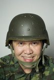 Smiling asian soldier