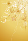 Gold abstract background with baubles and snowflakes.