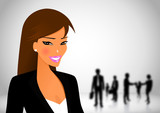 Business woman in workplace with her teamwork poster