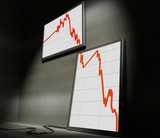 3d image of lcd on wall showing decrease financial stat poster