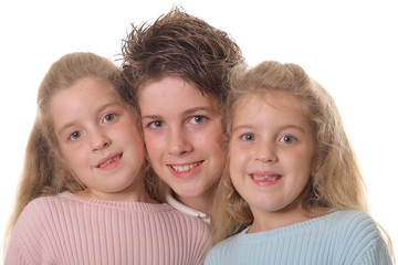 brother with twin sisters headshot