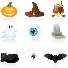 Set with Halloween icons