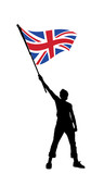 young man holding a flag of great britain poster