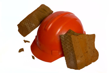 The brick is broken about a helmet
