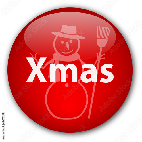"""Xmas button with Happy Snowman"