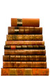 A row of antique leather books isolated on a white background