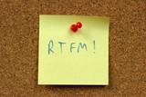 Sticky note. RTFM internet acronym: Read The F#cking Manual. poster