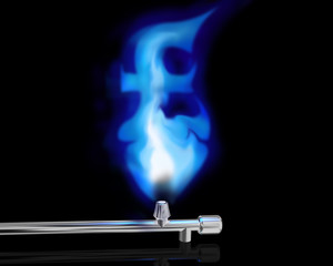 gas flame in the form of a pound symbol