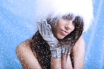 Winter Girl with  snow flake, blue background