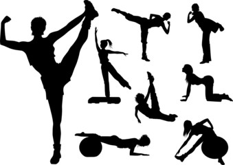 fitness woman in gym silhouette