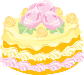 delicious creamy cake with rosettes