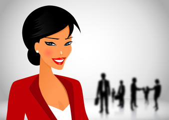 Business woman in workplace with her teamwork