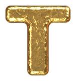 Golden font. Letter T. poster