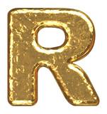 Golden font. Letter R. poster