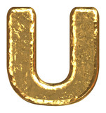Golden font. Letter U. poster
