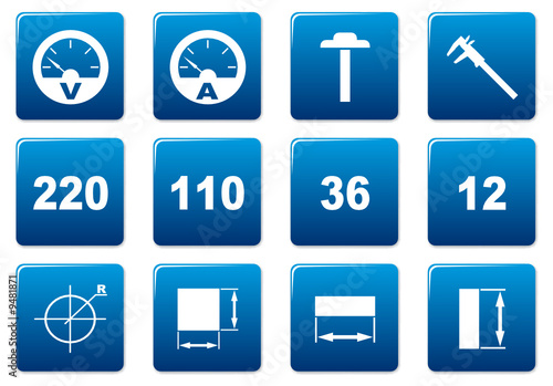 Gadget square icons set. Blue - white palette. Vector.