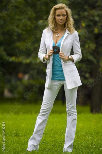 blonde beautiful woman in the park