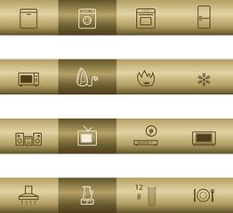 Home appliances web icons on bronze bar