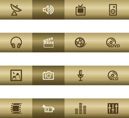 Media web icons on bronze bar