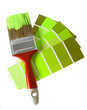 one brush and palette at green tone