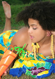 Beautiful girl, with a tropical drink in a sarong poster