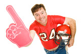 Middle aged football fan wearing his old high school jersey poster