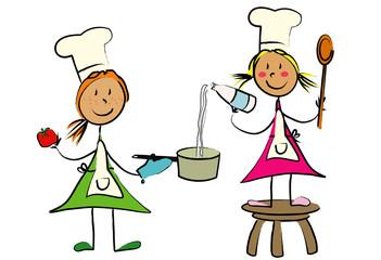 fillettes qui cuisinent