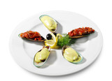 Cooked Mussels on a Plate Served with Lemon and Dill poster