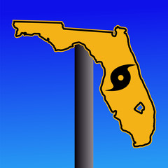 Florida warning sign with hurricane symbol