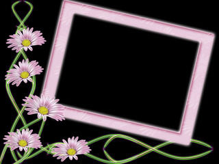 Rose frame with colour on black background