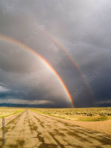 Double rainbow in Taos County, New Mexico