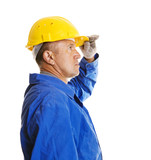 worker looking forward. isolated on white poster