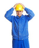 worker with hands on his hardhat. isolated on white poster